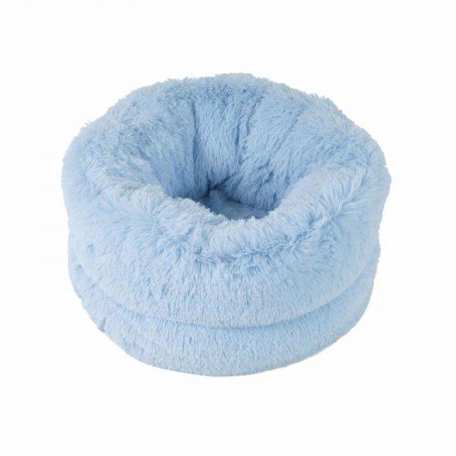 cama saco peluche azul