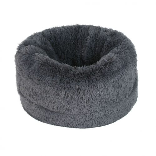 cama saco peluche gris